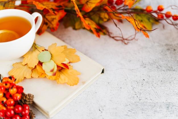 Tasse de thé et feuilles tombées sur la surface claire