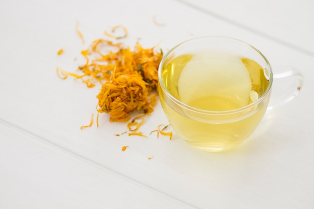 Tasse de thé avec des feuilles