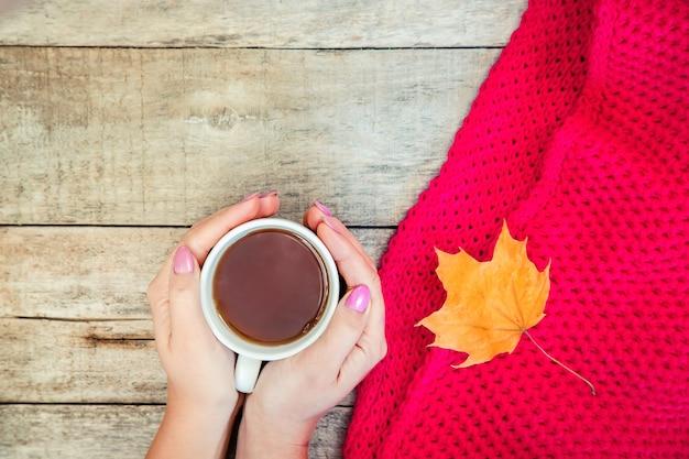 Une tasse de thé et un fond d'automne confortable. mise au point sélective.
