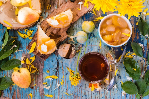 Une tasse de thé noir et de confiture de poires dans un bol et sur un morceau de pain, vue de dessus