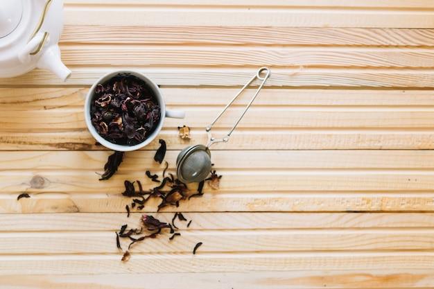 Tasse de thé et passoire
