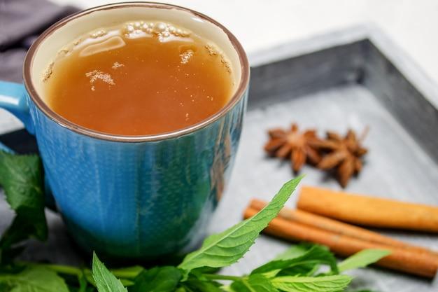 Une tasse de thé sur un plateau avec un bouquet de menthe