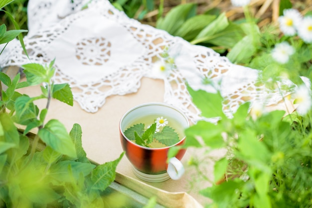 Tasse de thé vert avec une feuille de menthe, des fleurs, dans le jardin.