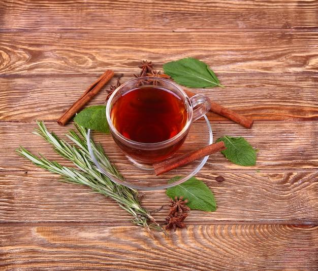 Tasse en verre de thé vert avec des bâtons de cannelle sur un mur de table en bois.