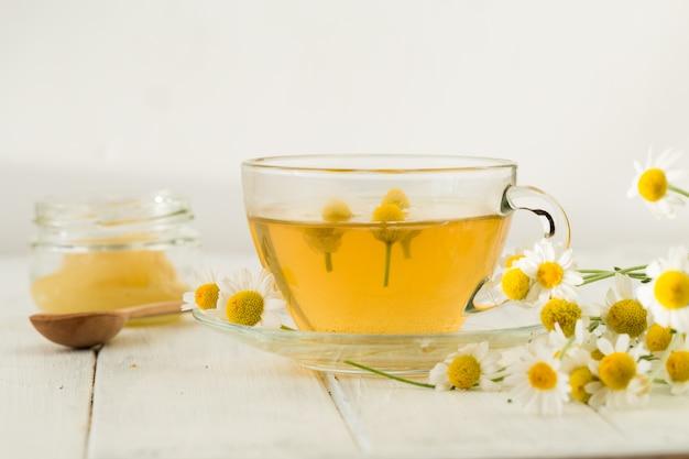 Une tasse en verre de thé vert avec tas de feuilles de thé sec sur fond blanc, avec copie espace pour le texte
