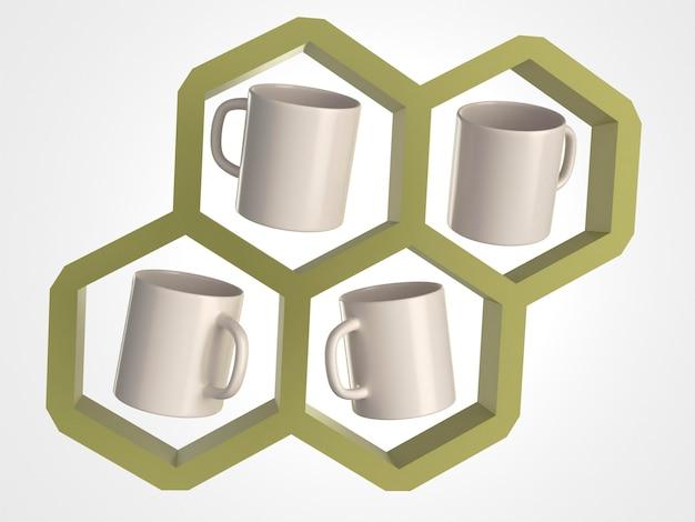 Tasses blanches 3d dans un nid d'abeille