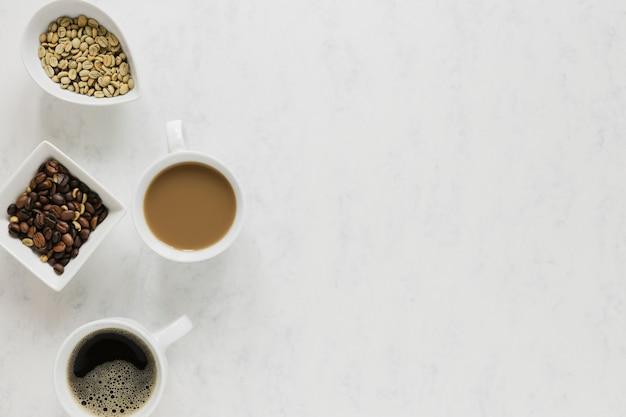 Tasses à café avec espace de copie