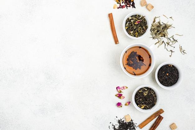 Tasses à thé avec copie-espace