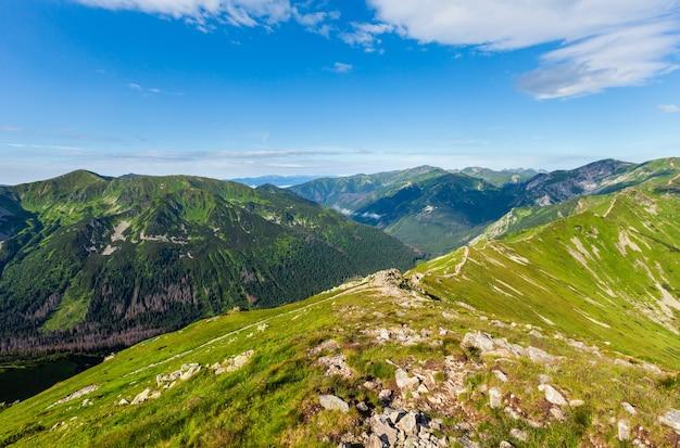 Tatra mountain pologne matin vue d'été de la gamme kasprowy wierch. les gens sont méconnaissables.