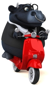 Taureau noir amusant - illustration 3d