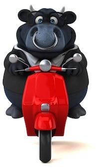 Taureau noir amusant - personnage 3d