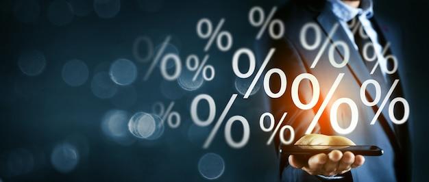 Taux d'intérêt de l'icône de pourcentage signe pourcentage
