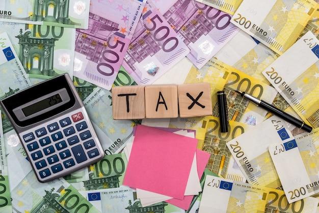 Taxe sur les cubes en bois avec calculateur de billets en euros