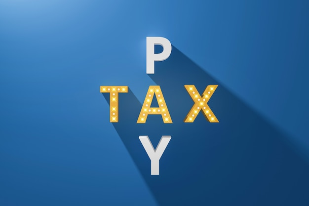 La taxe sur les mots croisés est payante avec des panneaux néon sur bleu et des taxes. facture de rejet de débit. rendu 3d réaliste.