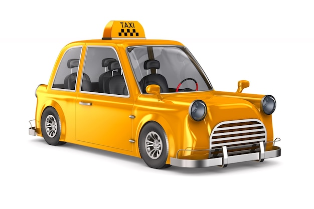 Taxi jaune sur espace blanc