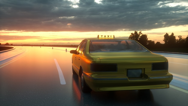 Taxi jaune monte sur l'autoroute