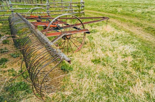 Technique antique rurale pour l'entretien des champs d'herbe dans le village.