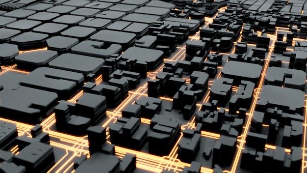 Techno méga ville, rendu 3d