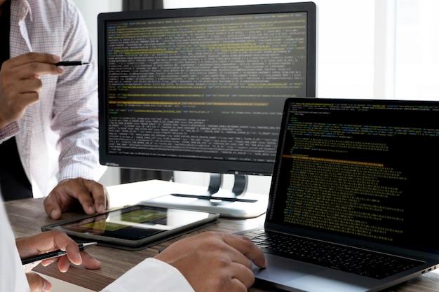 Technologie abstraite du code de programmation. développeur développeur de logiciels de programmation et de technologie de codage et script informatique