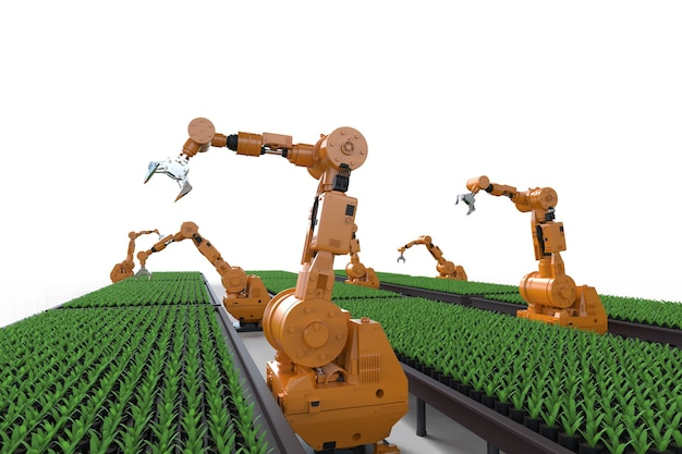 Technologie agricole avec bras robotisé en serre