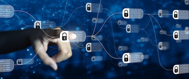 Technologie blockchain avec schéma de la chaîne et blocs cryptés concept de réseau de chaîne de blocs