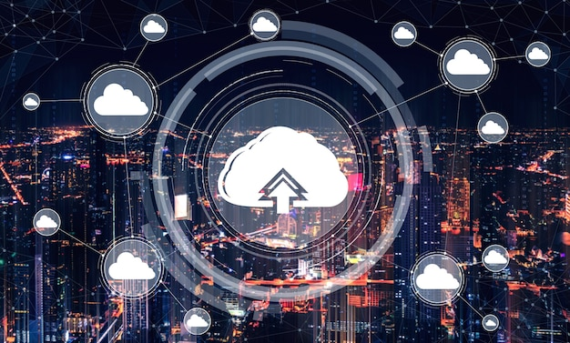 Technologie de cloud computing et stockage de données en ligne pour le concept de réseau d'entreprise.