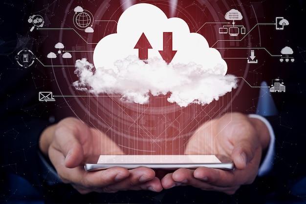 Technologie de cloud computing et stockage de données en ligne pour le concept de réseau d'entreprise