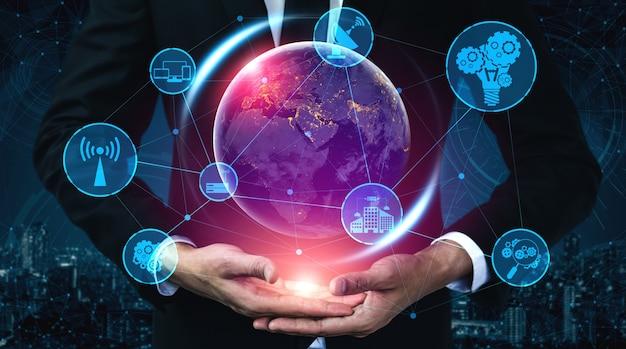 Technologie de communication 5g réseau internet sans fil pour la croissance mondiale des entreprises, les médias sociaux, le commerce électronique numérique et le divertissement à domicile.