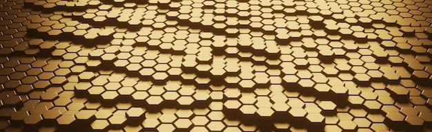 Technologie de concept de mosaïque en nid d'abeille dorée de forme hexagonale du futur