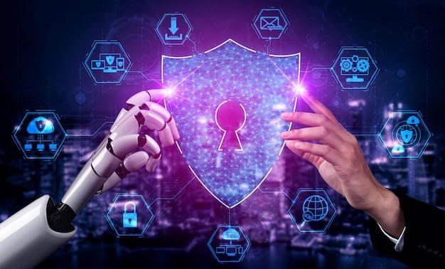 Technologie de cybersécurité et protection des données en ligne par un robot ai