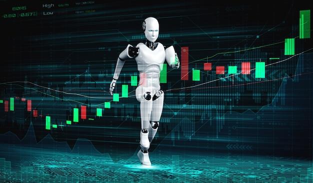 Technologie financière future contrôlée par un robot ia utilisant l'apprentissage automatique et l'intelligence artificielle