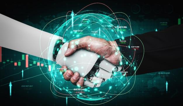 Technologie financière future contrôlée par un robot ia utilisant l'apprentissage automatique