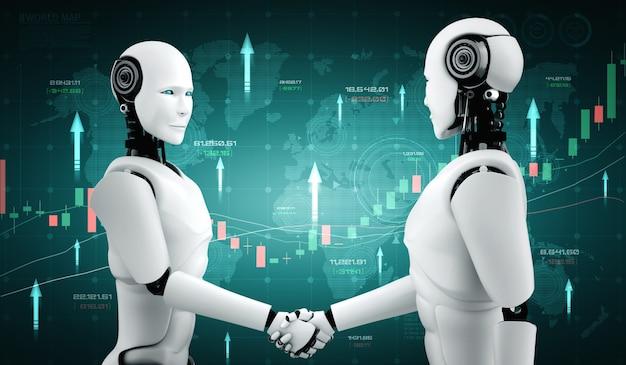 Technologie financière future contrôlée par un robot ia