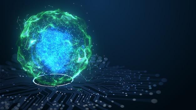 Technologie intelligence artificielle (ia) concept de données numériques d'animation cérébrale.