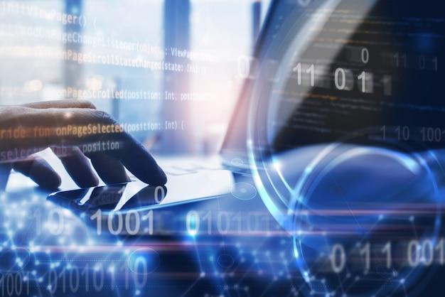 Technologie internet et concept de développement de logiciels numériques