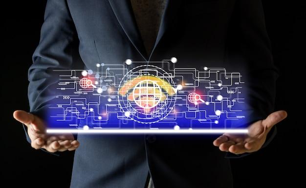 Technologie internet sans fil wifi pour plus de commodité dans la vie quotidienne, le concept internet sans fil fournit
