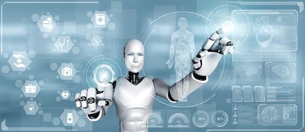 Technologie médicale future contrôlée par un robot ia utilisant l'apprentissage automatique et l'intelligence artificielle