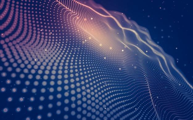 Technologie des molécules avec des formes polygonales, reliant des points et des lignes