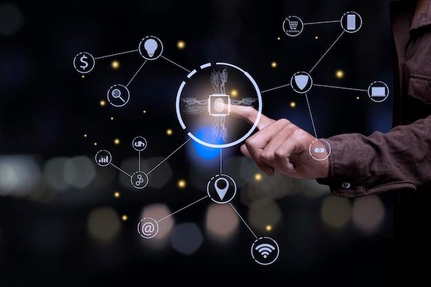 La technologie de numérisation des empreintes digitales assure la sécurité. réseau de connexion. concept de communication d'entreprise.