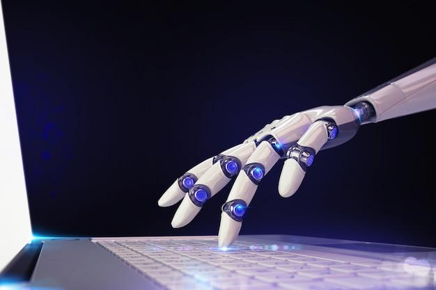 Technologie et robot futuriste de rendu d