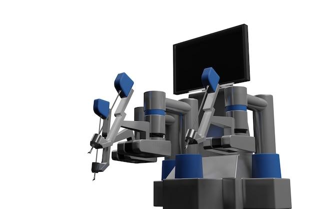 Technologies médicales modernes 3d. bras robotique isolé sur blanc