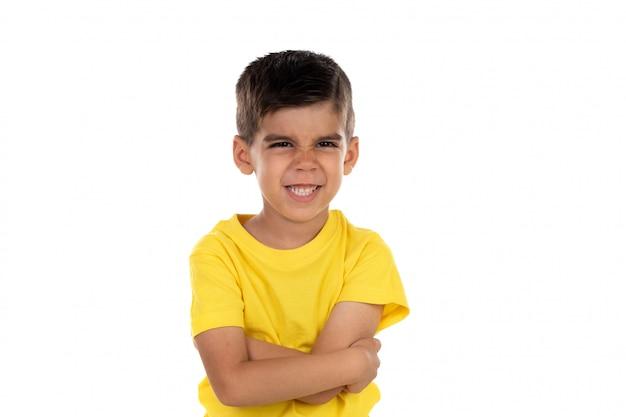 Tee shirt enfant en colere avec jaune