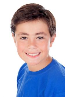 Tee-shirt enfant drôle avec dix ans et bleu