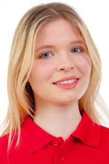 Tee-shirt fille blonde avec rouge