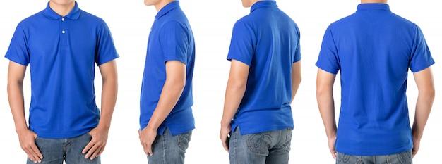 Tee-shirt jeune homme asiatique porte un polo bleu
