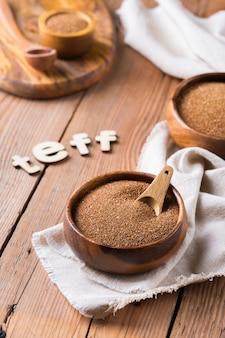 Teff ancien grain fin d'erythrée et d'ethiopie cuisine et alternative saine sans gluten