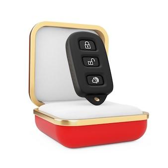 Télécommande d'alarme de voiture dans la boîte-cadeau rouge sur fond blanc. rendu 3d