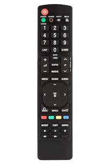 Télécommande noire agrandi sur fond blanc