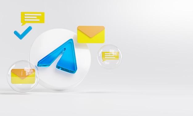 Télégramme en verre acrylique logo et icônes de messagerie copy space 3d