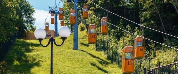 Téléphérique jaune cabines suspendues